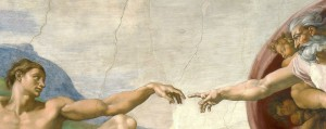 """Michelangelo - Creation of Adam"" von Michelangelo - See below.. Lizenziert unter Public domain über Wikimedia Commons - http://commons.wikimedia.org/wiki/File:Michelangelo_-_Creation_of_Adam.jpg#mediaviewer/File:Michelangelo_-_Creation_of_Adam.jpg"